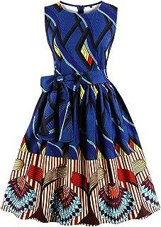 7c52b33c379 Ladyjiao Femmes 50 s Stripe Ethnique Africain Print Vintage Robes de Soirée  Rockabilly Cocktail Party Dress Grandes