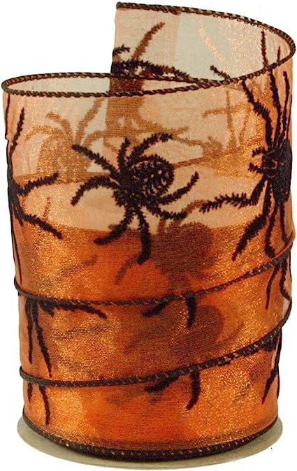 10 Yards Orange 2.5 Halloween Bats Spiders Ribbon