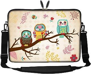 Meffort Inc 17 17.3 inch Neoprene Laptop Sleeve Bag Carrying Case with Hidden Handle and Adjustable Shoulder Strap - Three Owls