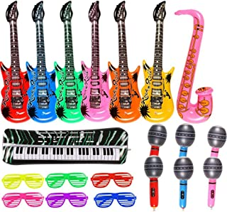 Inflatable Rock Star Toy Set 20 Pack Music Inflatable Instruments Party Props 6 Inflatable Guitars, 6 Inflatable Microphones, 6 Shutter Shading Glasses, 1 Inflatable Piano and 1 Inflatable Saxophone