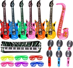 20 Pack Inflatable Rock Star Toy Set Music Instruments Party Props 6 Inflatable Guitars, 6 Inflatable Microphones, 6 Shutter Shading Glasses, 1 Inflatable Piano and 1 Inflatable Saxophone (20 Pack)