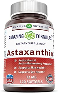 Amazing Formulas Astaxanthin Dietary Supplement - 12Mg - 120 Softgels (Non-GMO,Gluten Free) - Promotes Healthy Skin & Eyes...