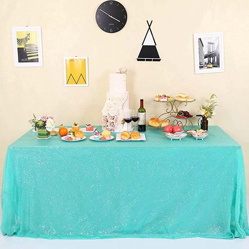 GFCC Glitter Aqua Green Sequin Tablecloth For Party Wedding Banquet 60x102 Inch Sparkly Rectangle Table Cloth Cake Table Cover Linen