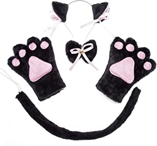 Cat Cosplay Costume - 4Pcs Cosplay Cat Kitten Tail Ears Set Collar Paws Gloves Lolita Gothic Halloween