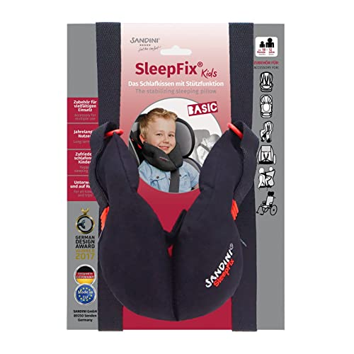 SANDINI SleepFix® Kids BASIC – Coussin dormir/ Cale-tête enfant/ Oreiller de cou offrant soutien – Accessoire pour sièges d'enfant comme version BASIC pour voiture/ vélo/ voyage – Conçu en Allemagne