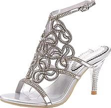 Abby L019 Womens Unique Wedding Bride Bridesmaid Party Show Dress Cone Heel Micro-Fiber Sandals