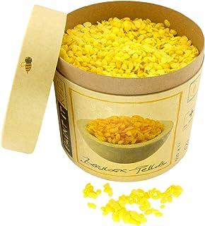 BIENENWACHS Bio für Kosmetik | Europharm Norm Ph. Eur. | 500 g Reine Bienenwachs – Pastillen | Pellets für Salben, Lippenbalsam, Seifen, Cremes, Lotionen und Kerzen | Granulat gelb