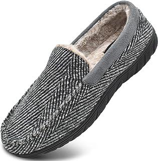 KuaiLu Zapatillas de Estar En Casa Hombre Invierno Cálido Forro de Felpa Zapatillas de Moccasin Espuma de Memoria de al Ai...