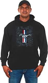 JH Design Group Mens Ford Mustang Tri-Bar Pony Distressed Collage Pullover Hoodie