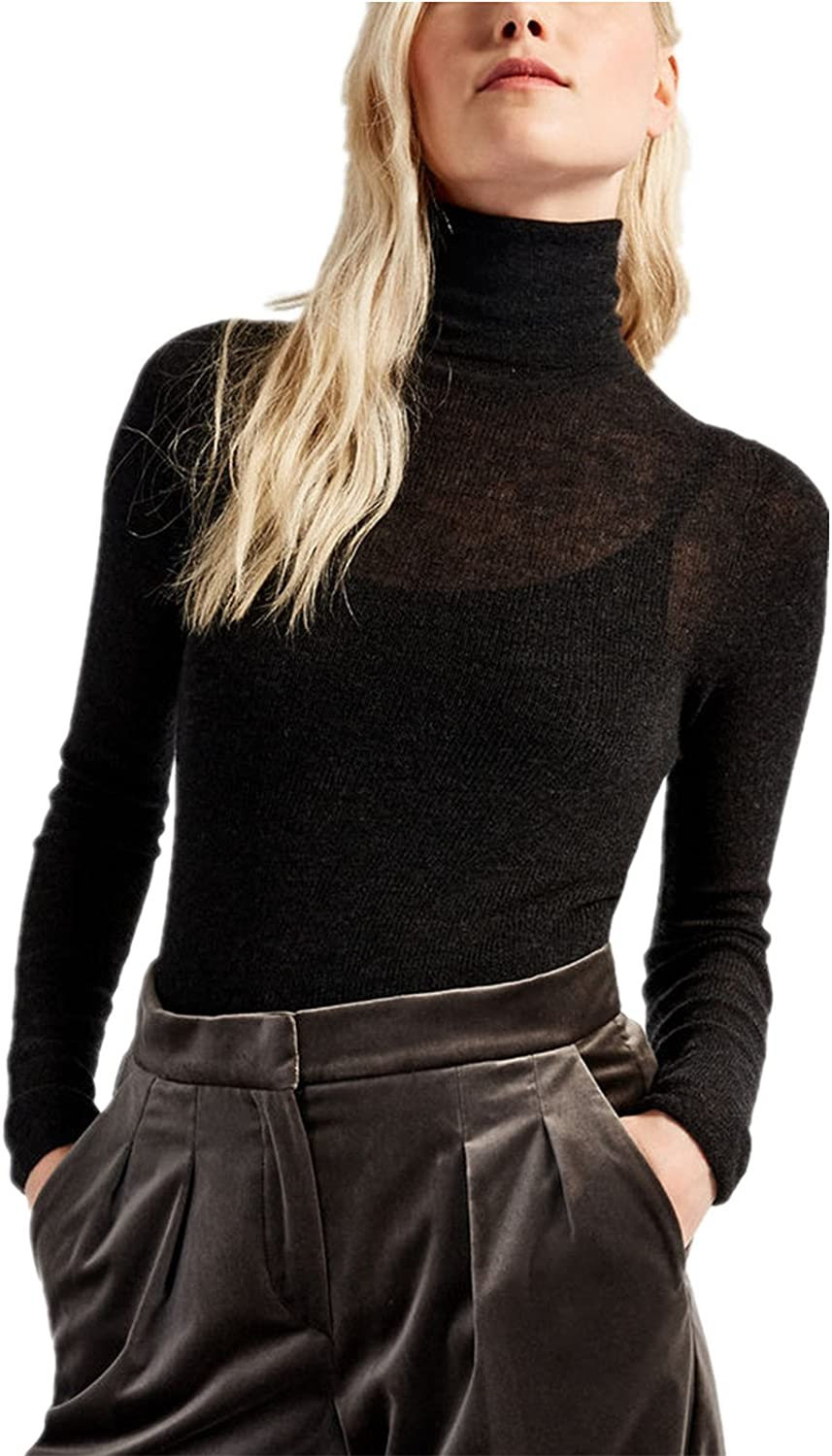 TEXAS, FOOTBALL COUNTRY Women's Lightweight Cashmere Semi Sheer Slim Fit Turtleneck Sweater