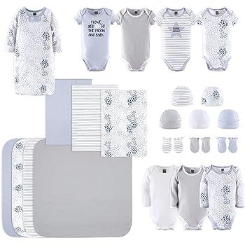 The Peanutshell Newborn Layette Gift Set for Baby Boys or Girls   23 Piece Gender Neutral Newborn Clothes & Accessories Set in Blue, Grey