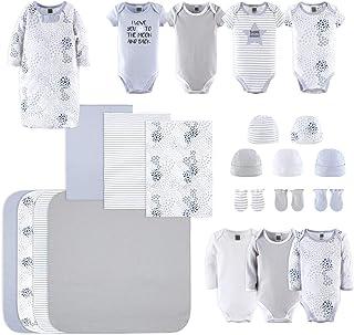 Newborn Layette Gift Set for Baby Boys or Girls | 23 Piece Gender Neutral Newborn Clothes & Accessories Set in Blue, Grey