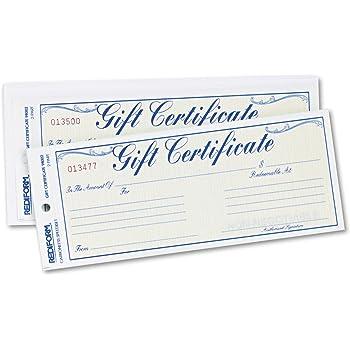 Rediform Rediform Gift Certificates w/ Envelopes (RED98002),Gold/Yellow