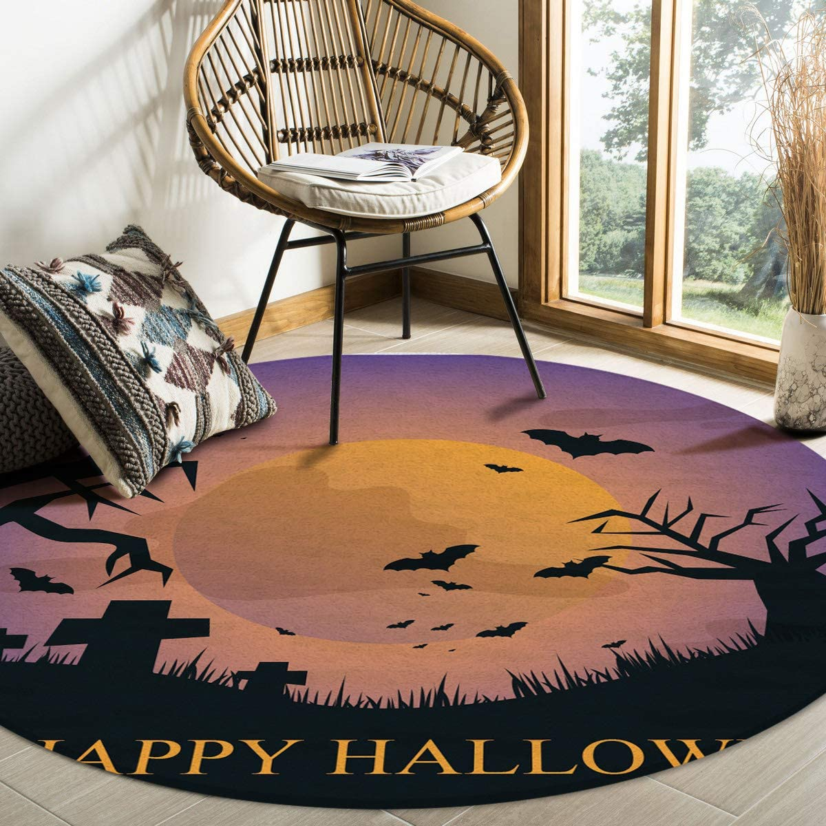 Modern Round Area Rug 6 for Bedroom Feet Low-Profi Non-Shedding Over item Challenge the lowest price of Japan handling ☆