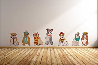 Rawpockets Hipster Dog Family' Wall Sticker (PVC Vinyl, 130 cm x 90cm)