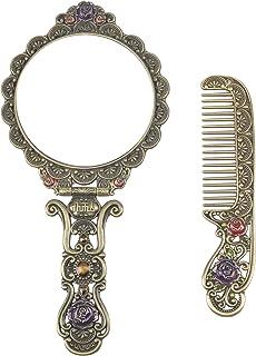 Nerien Vintage Mirror Comb Set Metal Antique Rose Style Handheld Makeup Mirror Travel Round Folding Cosmetic Mirror Women'...