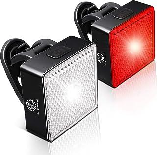 BrightRoad Juego de luces de encendido y apagado para bicicleta delanteras de 80 y 40 lúmenes, luces delanteras de bicicle...