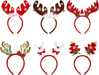 Vtrem 6 Packs Christmas Headbands Reindeer Antlers & Christmas Tree Hair Bands for Cosplay or Christmas Holiday New Years ...