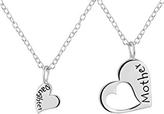 Mother Daughter Necklaces for 2: .925 Sterling Silver Heart Charm & Heart Cut Out Necklaces