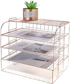 MORIGEM Support de rangement de bureau multifonctionnel à 4 couches, Or rose