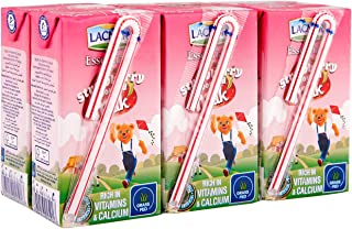 Lacnor Essentials Strawberry Flavoured Milk, 100% Natural, Rich in Vitamin and Calcium, 125 ML Pack of 6