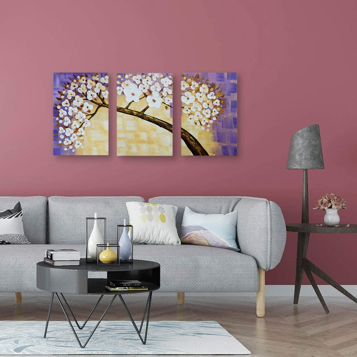 Mon Art Tree Blossom Oil Painting White Purple Flower Hand Painted Watercolor Picture Wall Art Handmade Drawing Artwork for Bedroom Living Room Modern Decoration Home Decor 16x24x3Pcs,Framed,Large