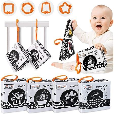 Tumama Libros de Tela Suave para bebés,Libros Blandos Juguetes para bebé,Libros de Tela en Blanco y Negro con Animales,Fruta,Verduras Juguete Regalo para bebés,niños(4 Packs)