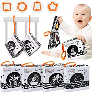 TUMAMA White and Black Books for Newborns,4 Pack High Contrast Crinkle Cloth Books for Babies,My First Soft Books Early Ed...