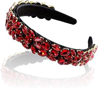 Women`s Pearl Crystal Rhinestone Wide - Edge Headband-Haimeikang Hair Hoops for Women Ribbon Headband Girls (One size, red)
