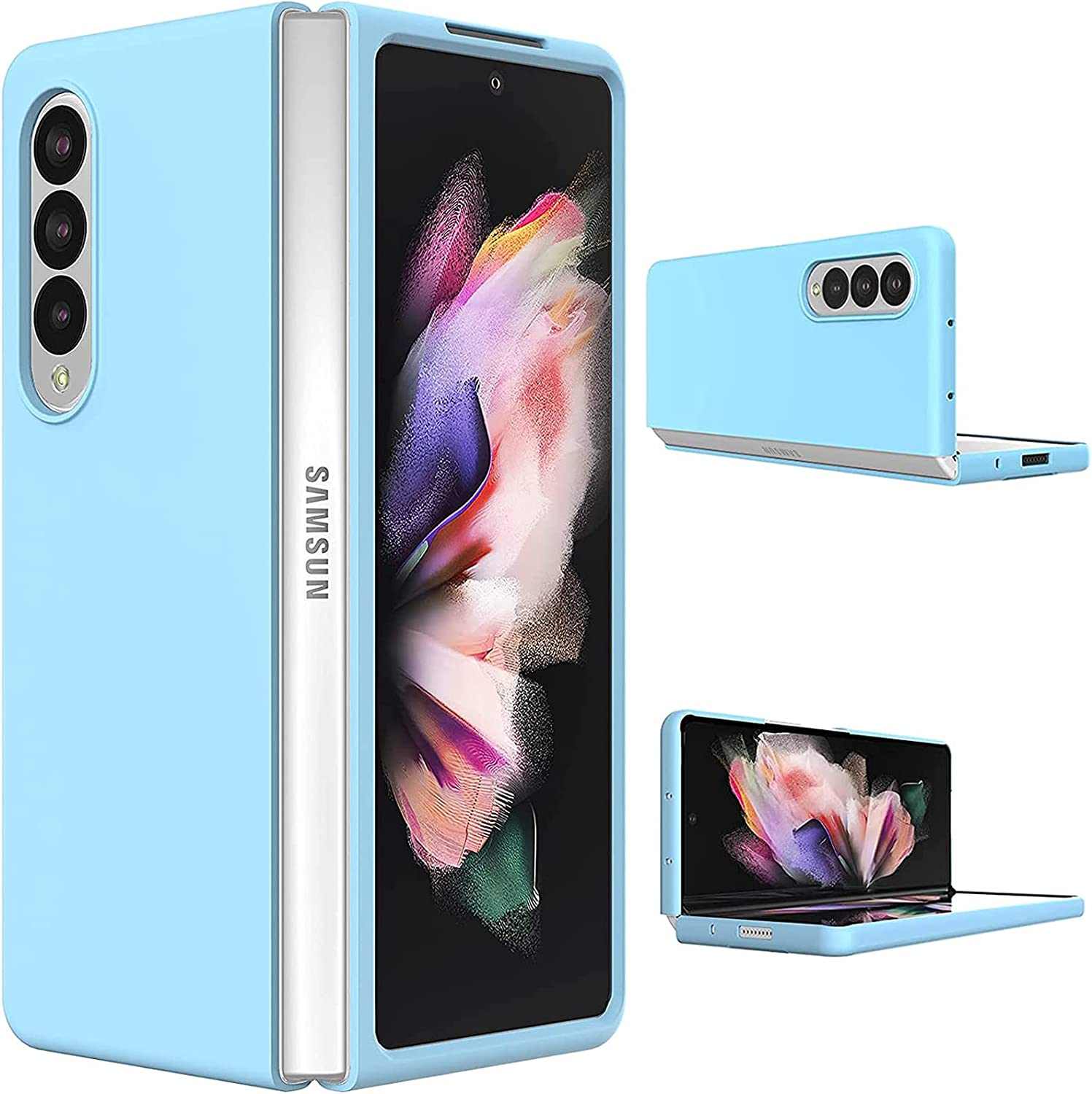 Slim Case for Samsung Galaxy Z Fold 3, Ultra Thin Lightweight Cover Durable Anti-Drop Wear-Resistant Hard PC Shell with Non-Slip Grip Protective Phone Defender for Z Galaxy Fold 3 5G 2021 - Blue