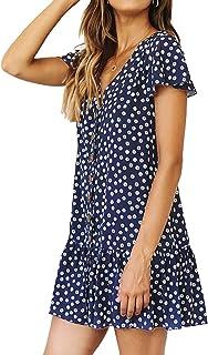 SHERONV Women's Polka Dot V Neck Button Down Ruffles Loose Mini T-Shirt Dress