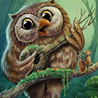 DIY 5D Diamond Painting Kits for Adults, Full Drill Crystal Rhinestone Diamond Embroidery Paintings Pictures Arts Craft for Home Wall Decor (Singing Owl, 11.8 X 11.8 in)