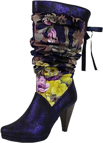 Ruby Shoo Damen Schuhe Athena Vintage Floral Retro Stiefel Geschlossen
