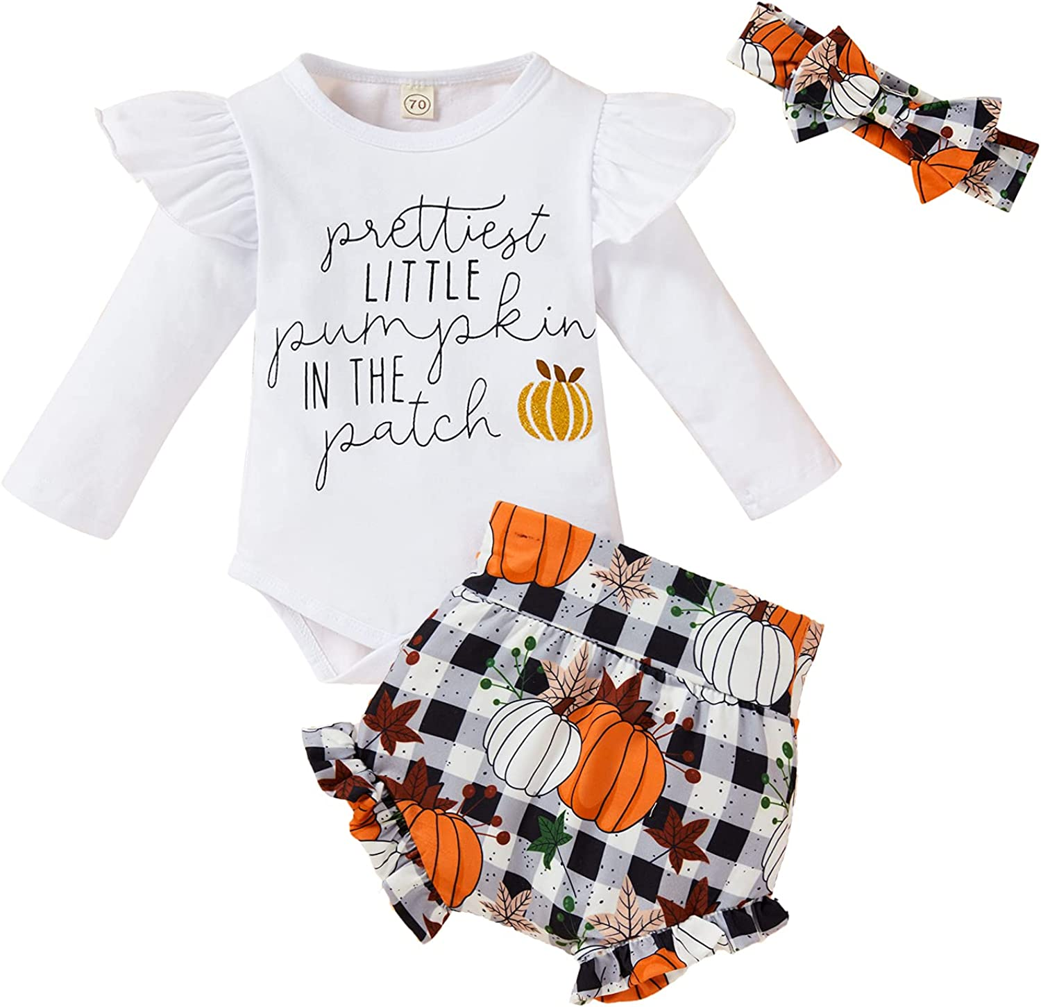Newborn Baby Girls Halloween Outfits Ruffle Long Sleeve Romper Matching Pumpkin Checked Shorts 3pcs Toddler Baby Clothes Sets