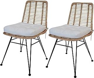 Meubletmoi – Juego de 2 sillas de ratán natural, patas de metal negro, estilo étnico bohemio chic – Kandy
