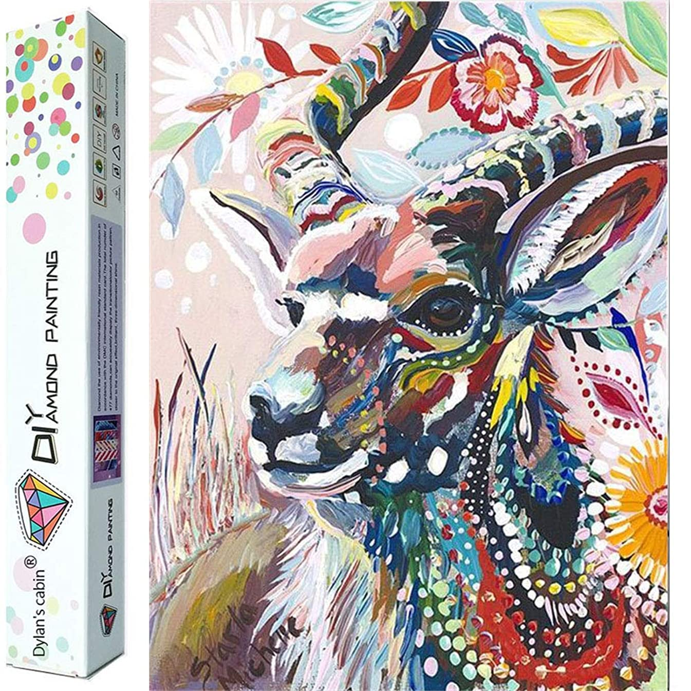 Dylan's Cabin DIY 5D Diamond Painting Kits for Adults,Full Drill Embroidery Paint with Diamond for Home Wall Decor(goat/12x16inch)