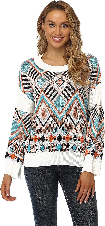 QIANGETI Women's Pullover Nippon regular agency Popularity Sweater Sweat Round Neck Long-Sleeved