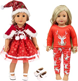 ZITA ELEMENT 2 Sets American Doll Girl Christmas Clothes Dress with 1 Shoes and 1 Christmas Hat for 18 Inch Doll Clothes and Accessories - Best 18 Doll Christmas Outfit Gift