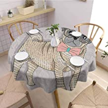 Pattern Round Tablecloth,PugHipster Pug with Nerdy Glasses and Bow Tie Cartoon Design Funny,Wrinkle Free Tablecloths Pale Grey Pale Yellow Pale Pink Diameter 35