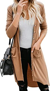 Rela Bota Long Cardigans for Women Casual Knit Long Sleeve Button Down High Low Hem Sweater Coat with Pockets