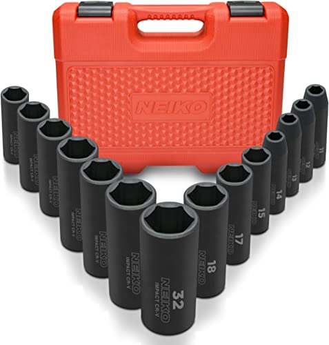 "Neiko 02475A 1/2"" Drive Deep Impact Socket Set, 14 Piece 