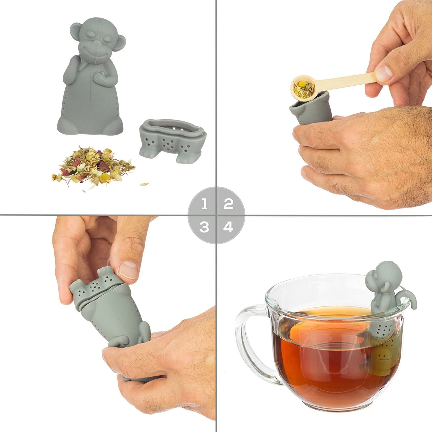 Your New Favorite Tea Strainer /& Steeper for a Superior Brewing Experience Baby Dino Loose Leaf Tea Infuser with Long Handle Neck /& Cute Ball Body Nessie or t rex Its a deep Diver Not a Shark
