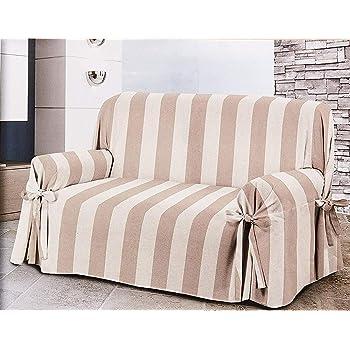 HomeLife – Cubre sofá de 3 plazas – Elegante Protector de sofás a Rayas – Funda de sofá de