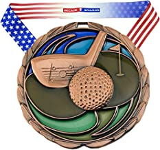 Decade Awards Golf Color Medal - 2.5 Inch Wide Tournament Medallion with Stars and Stripes American Flag V Neck Ribbon