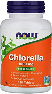 Organic Chlorella Super Green Algae Naturally Occurring Chlorophyll Beta-Carotene Non GMO 1000 mg 120 Tablets