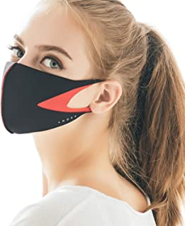 LOOKA MASK Protective Fashion Air Mask | Washable and Reusable | Triple Layered Face Mask | Slit Black X Red