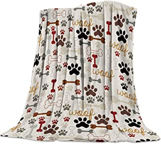 Heart Pain Cartoon Dog Paws Prints Vintage Flannel Fleece Throw Blanket All Season Home Decorative Warm Plush Cozy Soft Blankets for Chair/Bed/Couch/Sofa (59