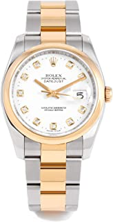 Rolex Datejust 36 mm 116203 Yellow Gold & Stainless Steel - White Dial - Oyster Bracelet - Men's Pre-Owned Watch (Certified Pre-Owned)