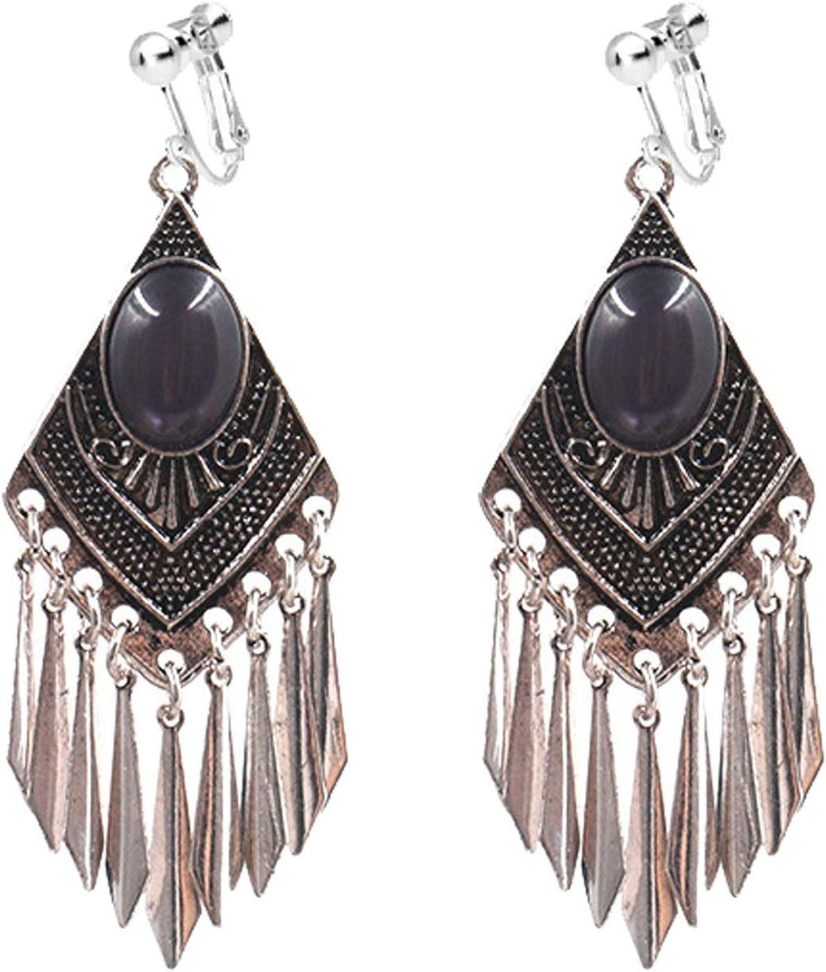 Boho Clip on Earrings for Women Girls Opal Earrings Rhombus Dangle Drop Long Tassel for Non Pierced Vintage Ethnic Style