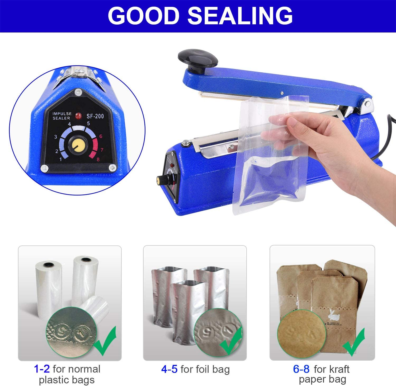 Manual Poly Bag Sealing Machine w//Adjustable Timer Electric Heat Seal Closer with 50Pcs 4X6 Inch Shrink Wrap Bag and 2 Free Replacement Kit Suteck 8 inch Impulse Bag Sealer